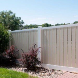 Almond and White Lakeview Fence