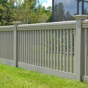 Custom Adobe Streaked and Embossed Sacramento Fence with Maxwell