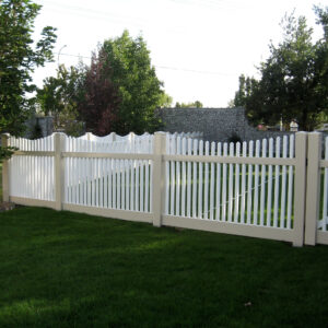 Almond and White Hampton Scalloped Fence