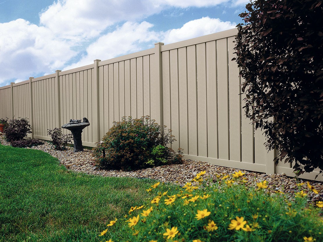 Almond Semi-Privacy Vinyl Fence Picture
