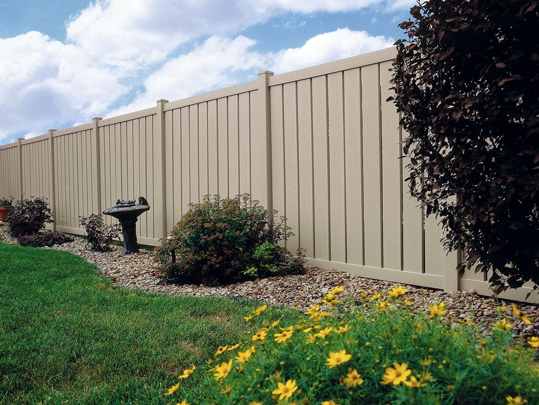 Almond Semi-Privacy Vinyl Fence Picture