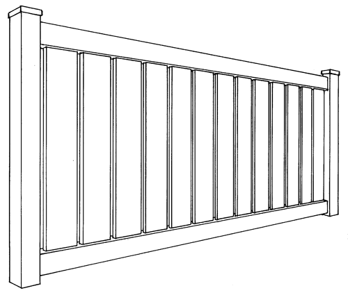 Caribbean Semi-Privacy Fence Line Drawing