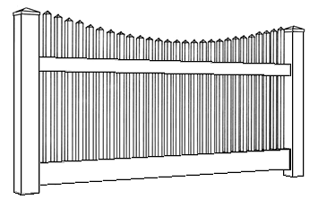 Hampton Scallop Picket Fence Line Drawing