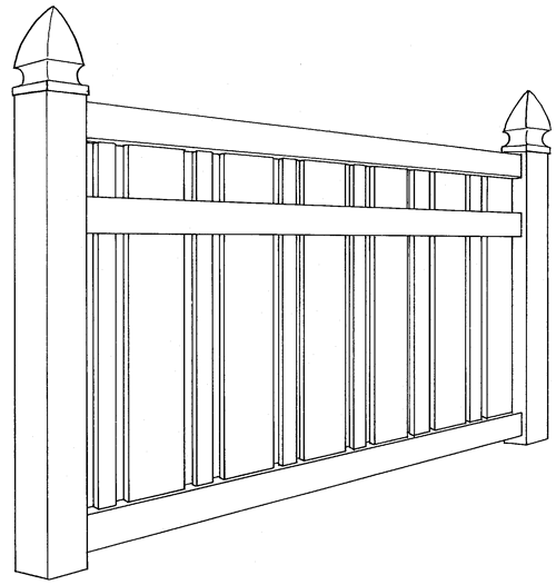 Kensington Semi-Privacy Vinyl Fence Line Drawing