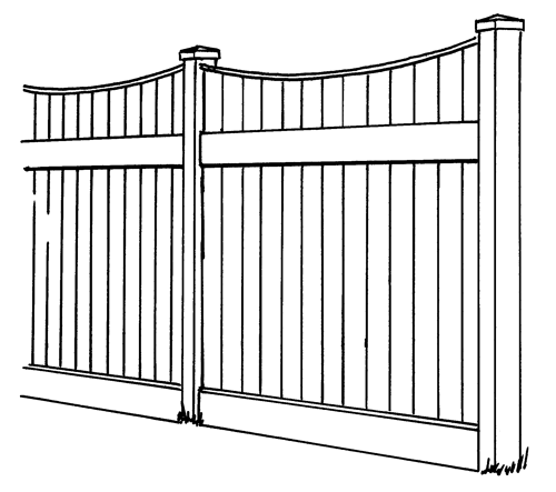 Lakeland Concave Vinyl Privacy Fence Line Drawing