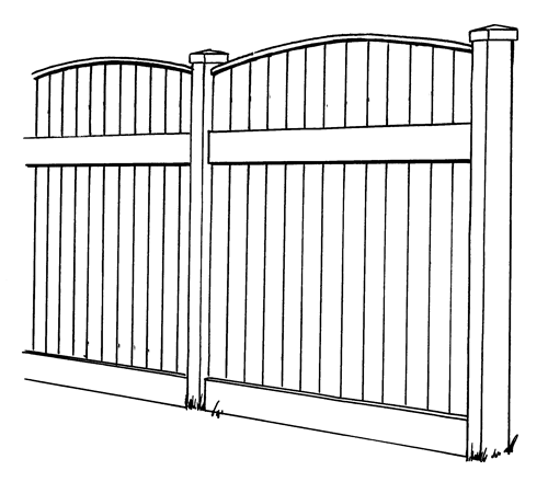 Lakeland Convex Vinyl Privacy Fence Line Drawing