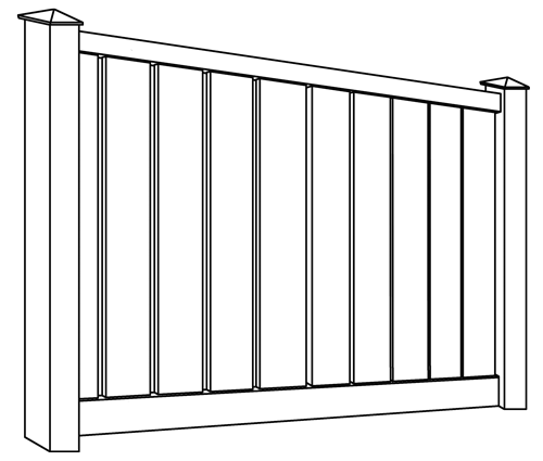 Lakeview Semi-Privacy Vinyl Fence Line Drawing