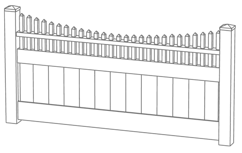 Montauk Point Scallop Privacy Fence Line Drawing