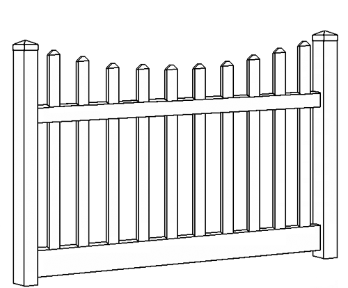 Potomac Picket Fence Line Drawing