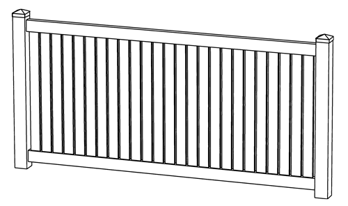 Rochester Semi-Privacy Vinyl Fence Line Drawing