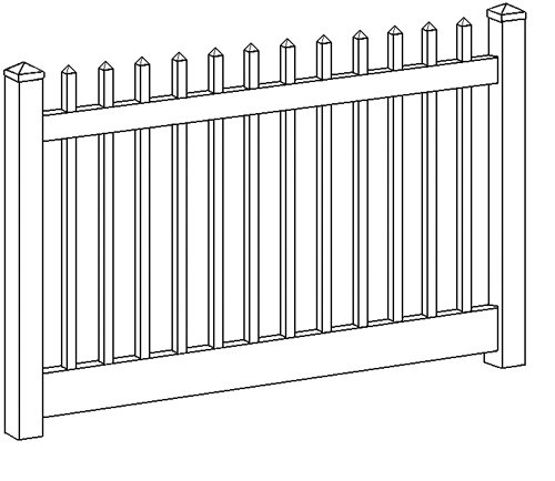 Sacramento Picket Fence Line Drawing