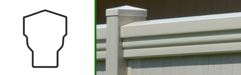 Profile drawing and closeup photo of the Country Estate Maxwell vinyl fence rail
