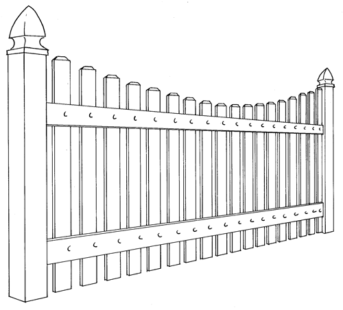 Springfield Vinyl Picket Fence Line Drawing